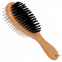 Natural bristle brush with a dog, cat