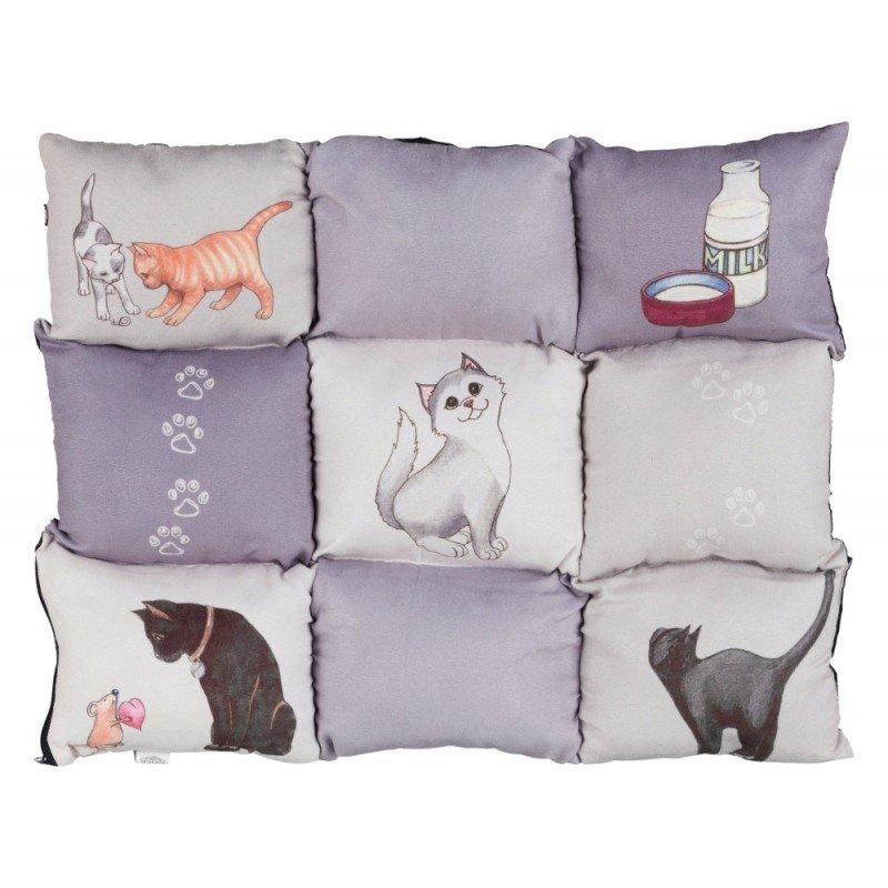 Poduszka Patchwork dla kota szara