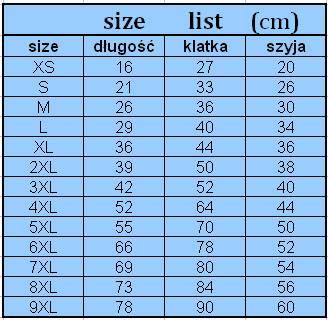 tabela rozmiarów ubranek dla psów